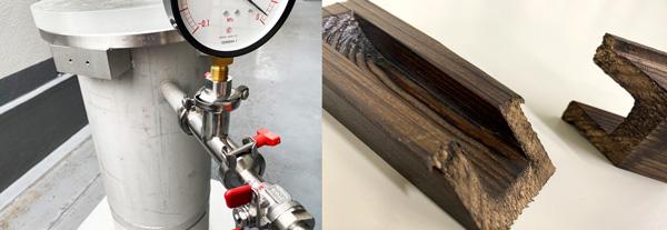真空含浸装置と含浸後の製品断面
