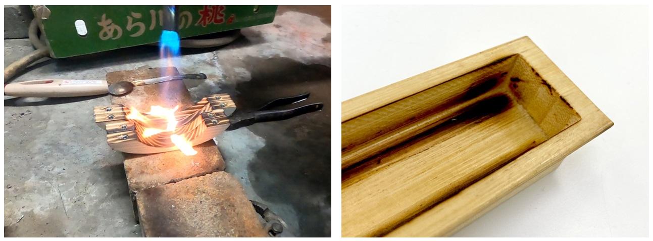 バーナー加工では品質が不安定となり、凹形状の場合の隅部分の焼きムラが発生する